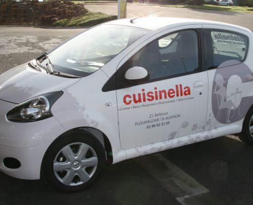 marquage Cuisinella réalisé en vinyle adhésif